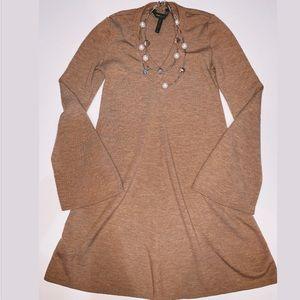 BCBGMaxAzaria Bell Sleeve Ribbed Sweater Dress Tan